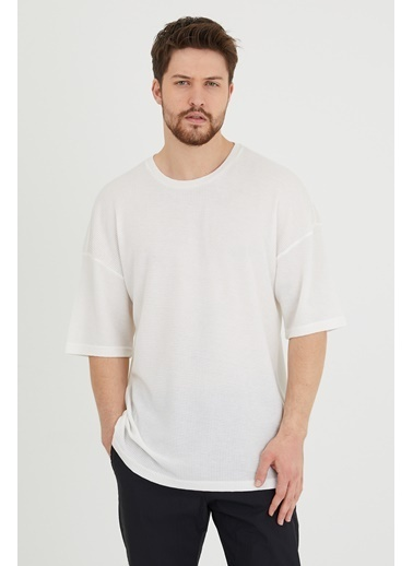 XHAN Taba Waffle Kumaş Salaş T-Shirt 1Kxe1-44632-30 Beyaz